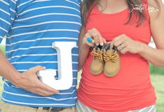 Maternity Session Couple with Wooden initial and baby shoes