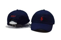 Mens / Womens Unisex Polo Ralph Lauren Small Pony Embroidery Leather Strap Back Baseball Adjustable Hat - Navy / Red