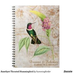 Amethyst Throated Hummingbird Notebook Plants With Pink Flowers, Dream Journal, Hummingbird, Vintage Grunge, Recorded Books, Custom Notebooks, Lined Page, Tropical Plants, Christmas Card Holders