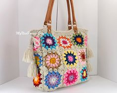 Crochet granny squares handbag with tassels and genuine leather handles, shopper bag, crochet tote, fashion summer handbag 2014