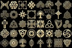 Ad: Gold Foil Celtic Knots & Symbols by FrankiesDaughtersDesign on This set comes with 40 PNG files (including Tree of Life and Celtic Cross) with transparent backgrounds. NOTE: These are not vector. Business Illustration, Graphic Illustration, Illustrations, Logo Design, Graphic Design, Celtic Symbols, Celtic Knots, Celtic Patterns, Celtic Designs