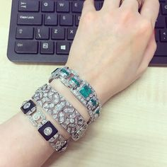 Trying to work but getting slightly distracted ✨ these 3 deco beauties all for sale in our upcoming London Fine Jewels sale don't miss out! @sothebysjewels #diamondbracelet #artdeco #decojewels #sochic #wouldntsayno  #sothebysjewels