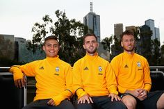 Paulo Dybala, Miralem Pjanic and Neto pose during a Juventus boat ride along the Yarra River on July 19, 2016 in Melbourne, Australia.