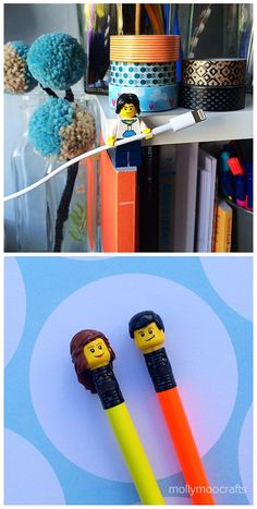 Cute LEGO Hacks – pencil toppers and cable tidy | MollyMooCrafts.com
