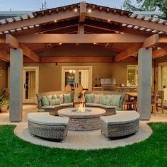 Hinterhof-Landschaftsbau-Ideen-Reihe - Patio-Design-Ideen Backyard Landscaping Idea Series - Patio D Backyard Covered Patios, Backyard Patio Designs, Modern Backyard, Backyard Landscaping, Backyard Cookout, Landscaping Design, Pergola Designs, Modern Landscaping, Backyard Porch Ideas