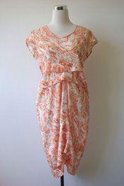 NOM D Marbled Silk-Mix Print Dress: 10-12 NEW $589