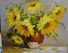 Купить Картина маслом на холсте в интерьер с букетом подсолнухов - комбинированный, картина цветы, букет подсолнухов