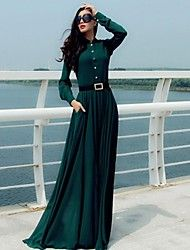 Women's Vintage Micro-elastic Long Sleeve Maxi Dr... – USD $ 29.99
