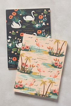 Avian Notebooks from Rifle Paper Company. Love the vintage Florida flamingo pattern. #anthropologie