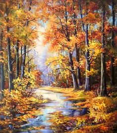 ART~ Beautiful Autumn In Copper And Gold~ Oil Painting~ Artist Unknown.
