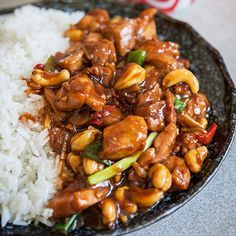 An intriguing Asian stir-fry consisting of chicken, cashews, chili, garlic, ginger, spring onions, soy & the key ingredient, coca cola.
