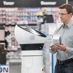 Robots greet customers and act as consultants in a Saturn retail store, Germany