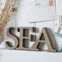 "Natural Wooden ""Sea"" Word"