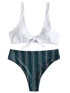 8b19c149ab Collar Pattern, Bra Styles, Bikinis, Swimwear, Spandex, Bodysuit, Tie,  Striped Bikini, Fashion