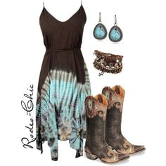 """Big Sky Country"" by rodeo-chic on Polyvore, Old Gringo cowboy boots with tie dye dress, bohemian, gypsy. western, turquoise jewelry"