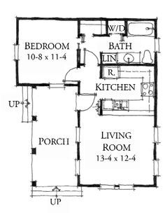 Plan: The Lafayette – A one bedroom cottage plan! – These House Plans are great for off the grid living. Cottage Style House Plans, Tiny House Cabin, Cottage Plan, Cottage Style Homes, Tiny House Living, Small House Plans, Cottage House, L Shaped Tiny House, One Bedroom House Plans