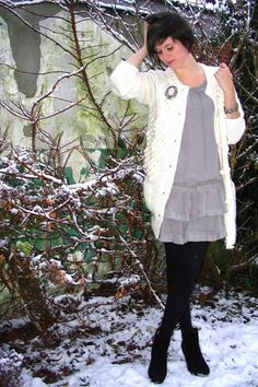 Super cute look! I love grey, and tights with boots and dresses or skirts.