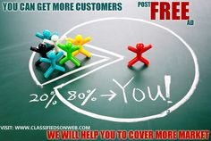 Cover more market than your competitions Post free ad on http://www.classifiedsonweb.com to increase your revenue.
