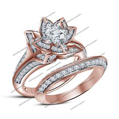 14K Rose Gp in Round Sim Diamond Flower Style Engagement Ring & Wedding Band Set #br925