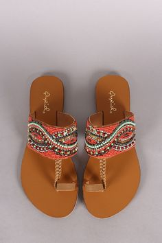 Qupid Beadwork Toe Ring Flat Sandals                                                                                                                                                      More