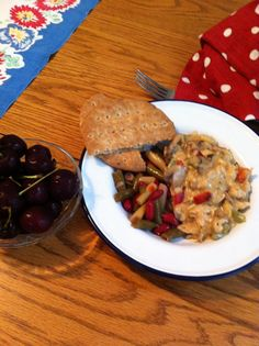 Creamed tuna (onions, mushrooms & peppers), 3-bean salad and cherries for dessert