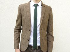 Mens Neckwear Forest Green Skinny Wool Necktie Flat Bottom Knit in Lambswool Gift for Men Dad Boss - MADE TO ORDER