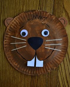 "Paper plate crafts for kids (A-Z) - C.R.A.F.T. this beaver is super cute for the ""building beavers"" book"