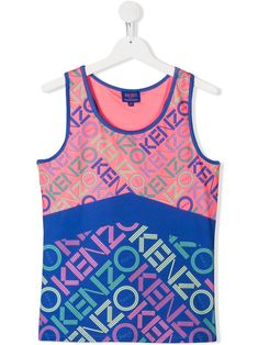 Shop Kenzo Teen Logo Print Sleeveless Top In Pink from stores. Pink and blue TEEN logo print sleeveless top from Kenzo Kids featuring an all over logo print, a round neck and a straight hem. World Of Fashion, Kids Fashion, Fashion Design, Kenzo Kids, Luxury Branding, Kids Outfits, Tank Man, Women Wear, Teen