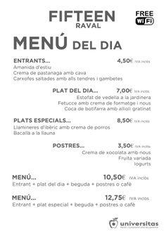 Estos son los platos de hoy de Fifteen Raval: