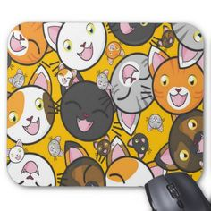 Cute Kitty Cat Mouse Pad - pattern sample design template diy cyo customize