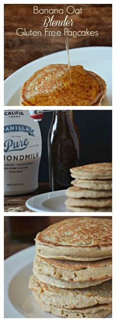 Easy Blender Banana Oat Pancakes made in the Blender! Dairy and gluten free!! mountainmamacooks.com