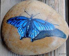 hand-painted rockartbluebutterflyYARD by NGRESHAMART on Etsy