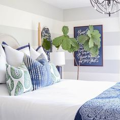 Updates: Summer Guest Bedroom Decor Bedroom with gray and white striped walls, white bedding, blue and green paisley pillows, navy blue linen lamps, iron orb chandelier and a navy blue Lindsay Letters Doxology canvas. Guest Bedroom Decor, Guest Bedrooms, Bedroom Ideas, Small Bedrooms, Master Bedrooms, Bedroom Inspiration, Bedroom Wall, Classic Room, Bedroom Green