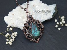 Elven Inspired Copper Necklace  Turquoise Chrysocolla