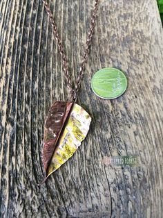 Copper Leaf Necklace with Long Copper Chain by FeatheredForest