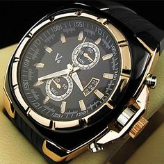 Men's Watch Military Gold Case Rubber Band 2016 – $8.09