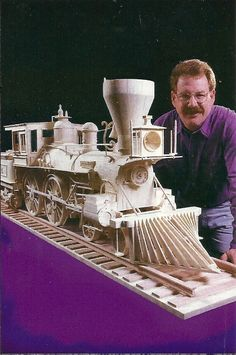 Pat Acton and his matchstick model of the General locomotive made from 78,000 wooden matchsticks.
