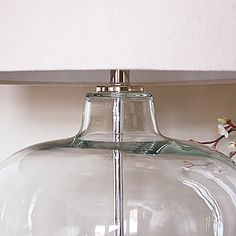 Glass Urn Table Lamp with Natural Shade #glassbaselamp #lamp #glass