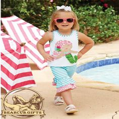 Mud Pie's mermaid pant set is too cute, plus it is now 30% off.  Originally $39.60 for sizes 9-12m, 12-18m, &2t. Those sizes are now $27.75. (We've already sold out of 3t.) We also have sizes 4t & 5t,, originally $46.55 and now special priced at $32.60.  Bear Cub Gifts does ship:  706-864-0046.  We offer layaway. Thank you for supporting our small business. #swaddletoddlebearcubgifts #dahlonega #mudpie #mudpiesale #mudpiemermaidset #salesalesale #sale #springsale