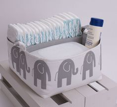 6011b67cc10e Diaper Caddy - Storage Bin Basket Container Organizer - Ele Grey Storm and  White Fabric