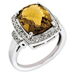 Cushion Checkerboard Cut Whiskey Quartz Diamond Sterling Silver Ring Available Exclusively at Gemologica.com