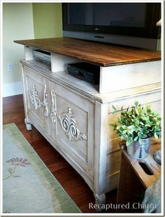 Old Chest repurposed to an Entertainment Unit! Love This! And would match the rest of our house!