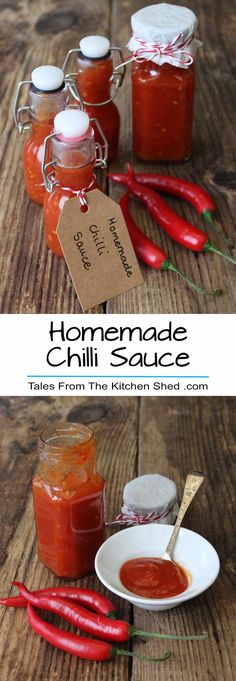 Homemade Chilli Sauce – Tales From The Kitchen Shed Homemade Chilli Sauce makes a great edible gift, perfect for all your chilli loving friends. Easy to make & tastes so much better than shop bought. Hot Sauce Recipes, Chilli Recipes, Canning Recipes, Edible Christmas Gifts, Edible Gifts, Homemade Food Gifts, Homemade Sauce, Homemade Chilli Recipe, Dips