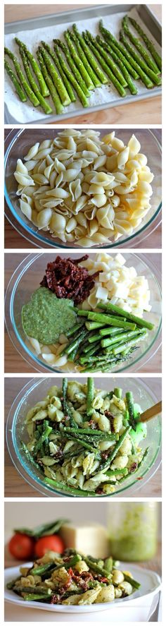 pesto pasta w/ sun dried tomatoes and roasted asparagus