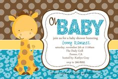 Baby Giraffe Baby Shower Invitation.