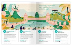 We worked with Thomas Cook magazine on an article about a blueprint for the wettest, wildest water park in history. Magazine Layout Design, Book Design Layout, Print Layout, Magazine Illustration, Graphic Illustration, Album Jeunesse, Newspaper Design, Magazines For Kids, Publication Design