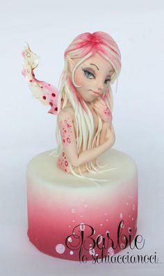 Here is my new Fairy, white and Magenta. Thank you everyone! Unique Cakes, Creative Cakes, Beautiful Cakes, Amazing Cakes, Fondant Cakes, Cupcake Cakes, Airbrush Cake, Barbie Cake, Sculpted Cakes