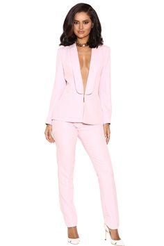 'Tristana' Light Pink Crepe Trouser Suit