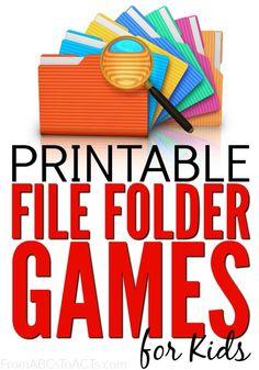 75 Printable File Folder Games for Kids Kindergarten Games, Classroom Games, Preschool Games, Preschool Printables, Preschool Readiness, Preschool Ideas, Preschool Centers, Preschool Curriculum, Baby Activities