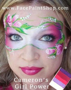 Rose mask using Cameron's Girl Power from Face Painting Images, Face Painting Flowers, Face Painting Tips, Adult Face Painting, Face Painting Designs, Mask Painting, Face Paintings, Mask Face Paint, Face Paint Makeup